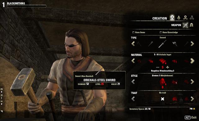 Elder Scrolls Online blacksmithing screen