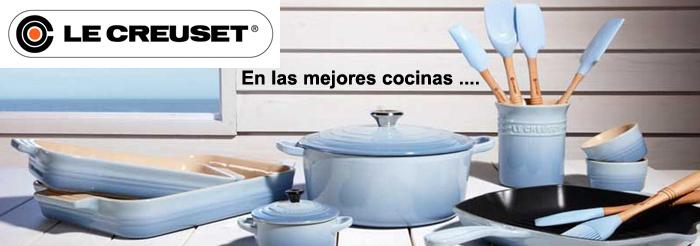Banner de publicidad con artículos de la marca Le creuset