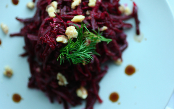 Adrienneats: Raw beet salad with dill & walnuts