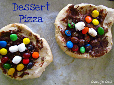 dessert pizzas with chocolate and m&ms