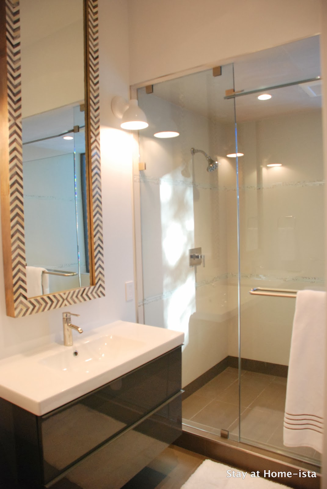 Inspirational Ikea bathroom vanities in a modern bathroom with tall West Elm mirrors