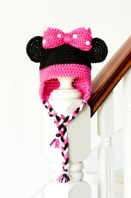 Free Minnie Mouse Crochet Hat Pattern With Ear Flaps : Hopeful Honey Craft, Crochet, Create: Minnie Mouse ...