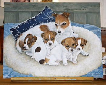 """Georgia & Pups"" acrylic on canvas"