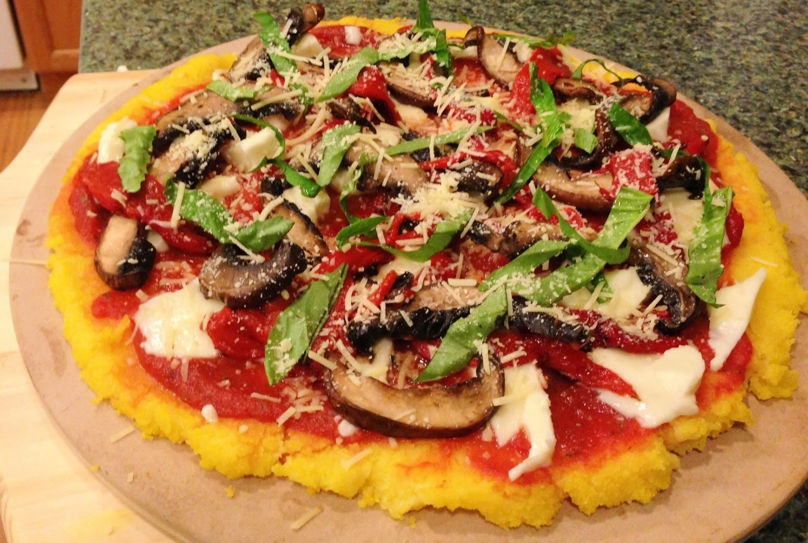 Yummy Fixins: Polenta Pizza with Roasted Peppers & Shrooms