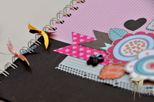 Caderno decorado com scrapbook