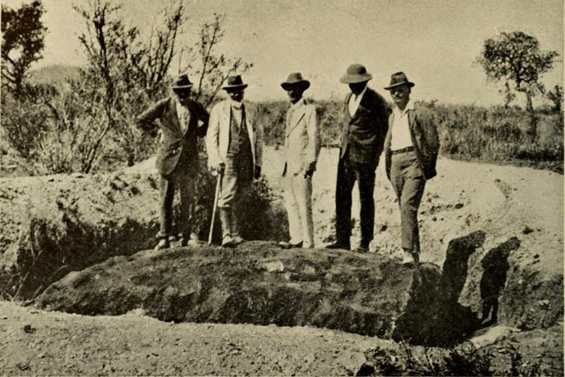 The Hoba meteorite was discovered in 1920 by the land owner, Jacobus Hermanus Brits, encountered the object while ploughing one of his fields with an ox. During this task, he heard a loud metallic scratching sound and the plough came to an abrupt halt. The obstruction was excavated, identified as a meteorite.