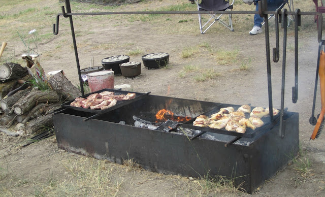 Cook out at the chuck wagon party