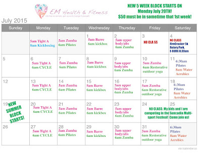 July Fitness Class Schedule