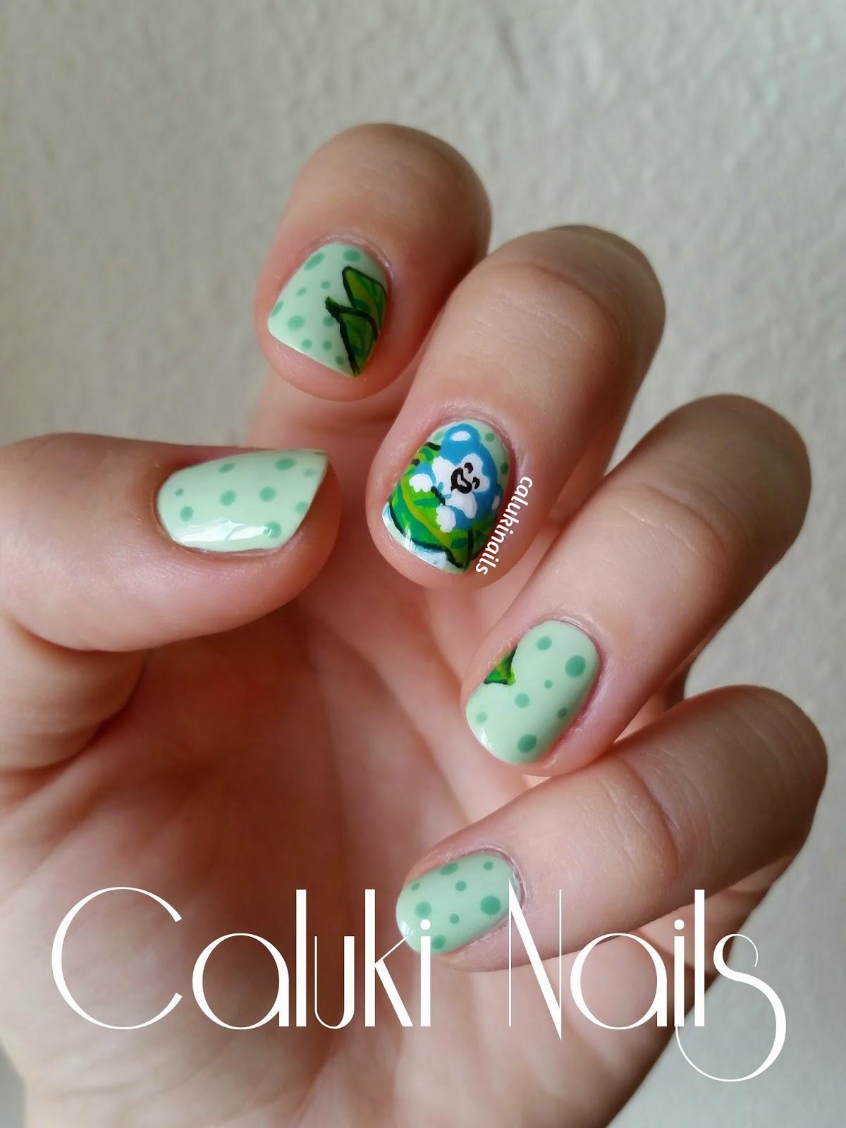 Caluki Nails : Nail art Osito Azul / Verde menta | IsaDora