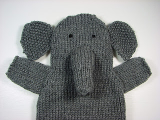 hand knit hand puppets toy animals elephant