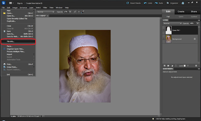 Today we shall be talking about simple workflow of getting metadata of Photograph through Adobe Photoshop Elements. Without taking much time, let's start the process of extracting metadata of a Photograph 1. Open a photograph in Editor of Adobe Photoshop Elements2. Go to File Menu and Select File-Menu option3. It will open a dialog with different tabs under which different types of metadata is shown for open photograph - IPTC, Camera Data, History etc4. Now to extract metadata of photograph, just go to the bottom and click Export option. Please see image below to know the way to locate Export option.5. It will open a simple dialog to save metadata in XMP.