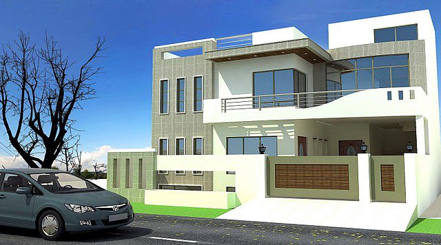 Modern homes exterior designs front views pictures for Home design exterior ideas in india