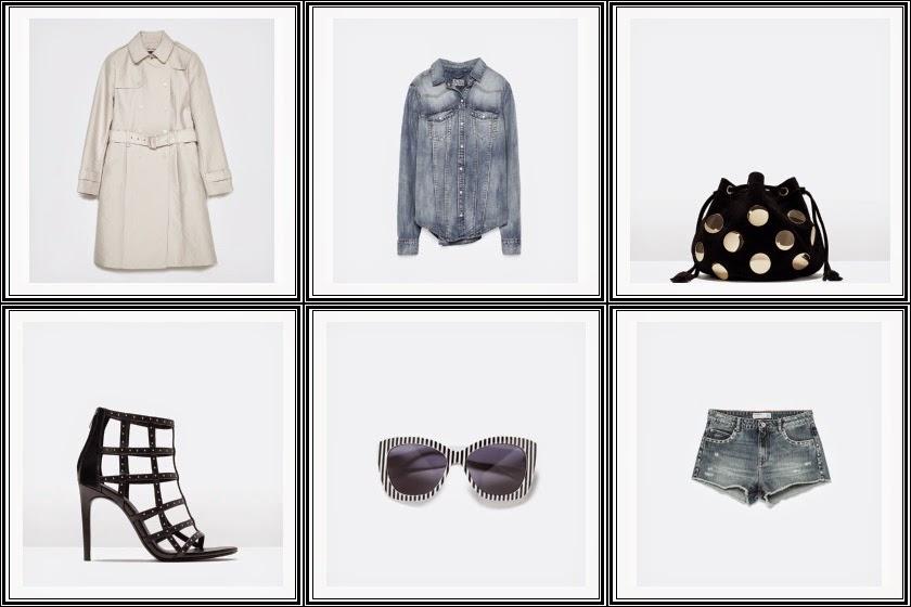 Zara - Calças e camisa ganga, sandalias de tiras, oculos com riscas