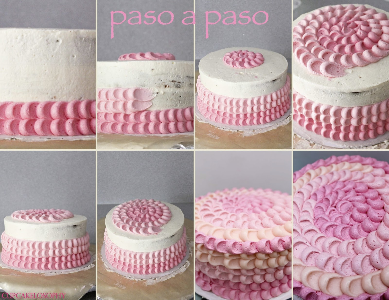 Cupcakelosophy pink ombre cake for Como se hace la vertical