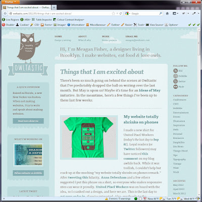 Screen shot of http://owltastic.com/2012/05/things-that-i-am-excited-about/.