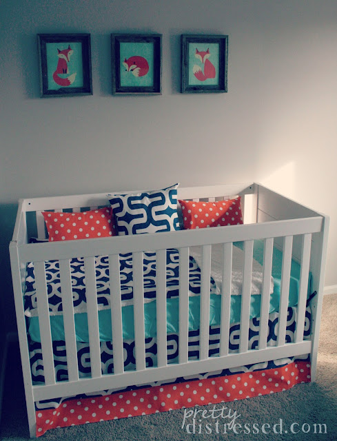 orange navy crib bedding