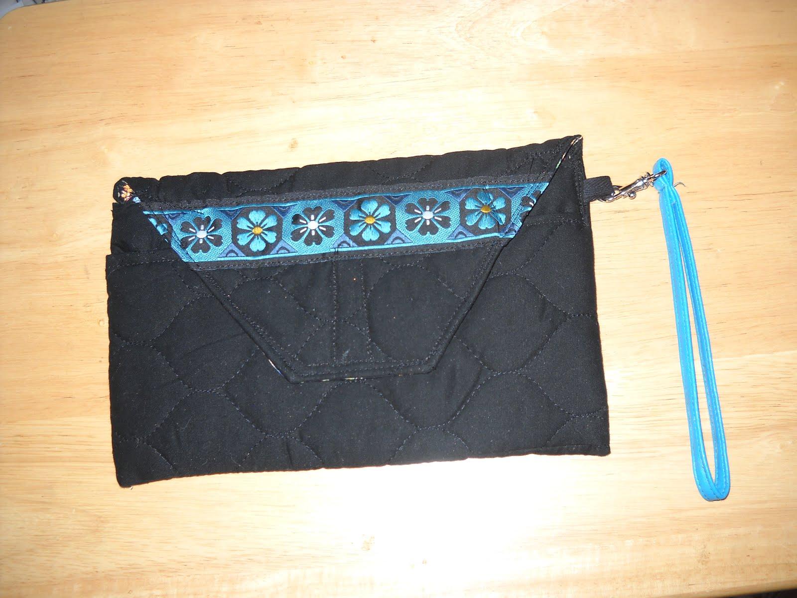 Black and Teal Braid Clutch