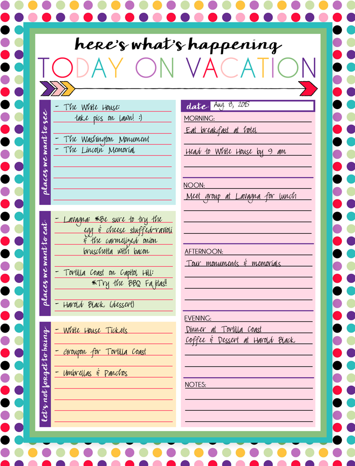 Free Printable Vacation Planner