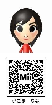 生駒里奈(乃木坂46)のMii QRコード トモダチコレクション新生活