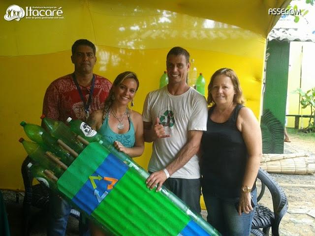 Secretária de Meio Ambiente chama atenção para o projeto Pranchas de Garrafas PET no Surf Eco Festival.