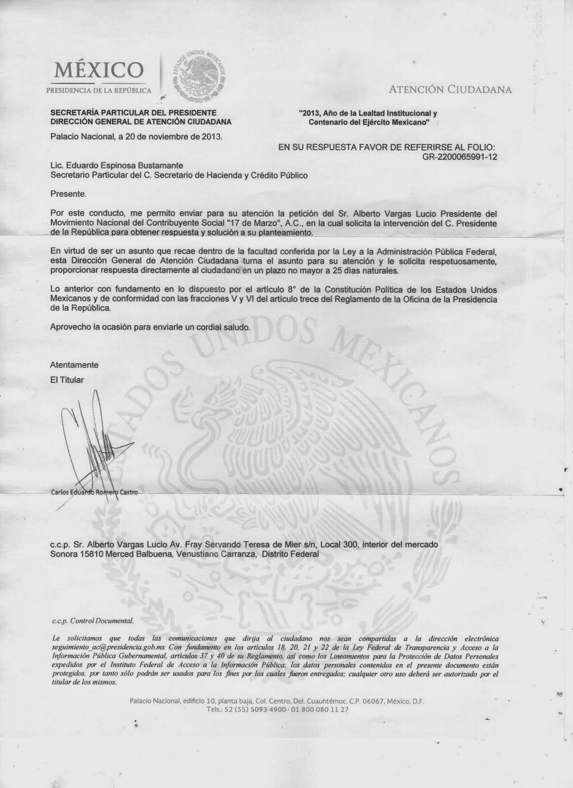 Instrucciones de la presidencia al Movimiento 17 de Marzo