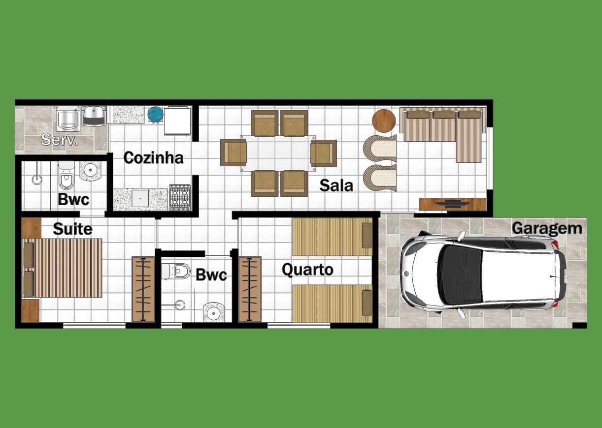 2 quartos moderna 10 x r 9 90 clique projetos for Casa moderna de 7 00m x 15 00m