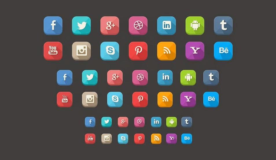 42 Long Shadow Social Media Icons
