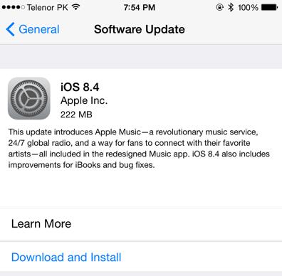 Apple iOS 8.4 OTA Update