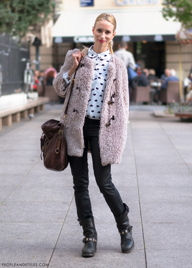 How to wear leather leggings in winter, Iva Strmo, winter cool street style, street fashion Zagreb