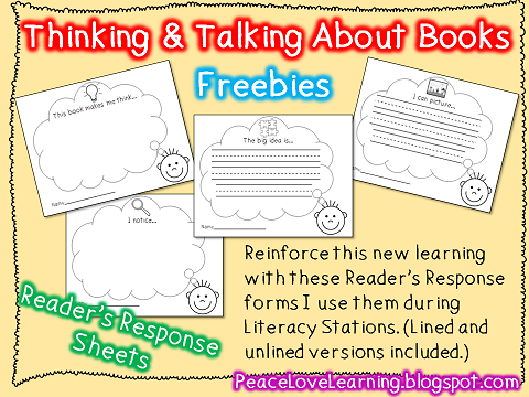 Thinking & Talking About Books - Freebie from Peace, Love & Learning