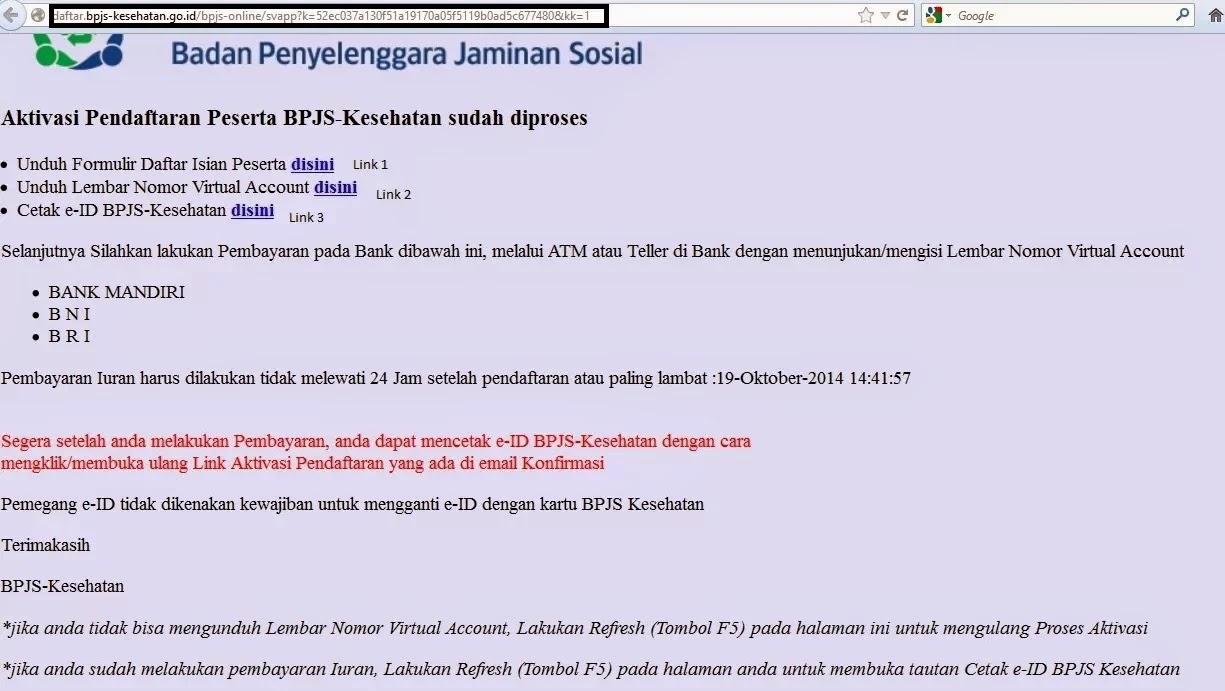 Halaman Hasil Aktivasi BPJS Online