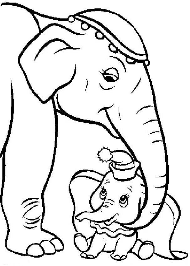 Dumbo and his mom coloring ~ Child Coloring
