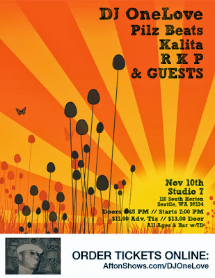 DJ OneLove, Pilz Beats, Kalita, RKP, & Guests at Studio 7 - all ages global beats dance party