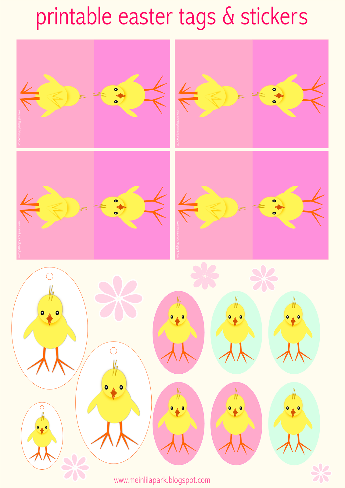 free printable easter chick decoration cards