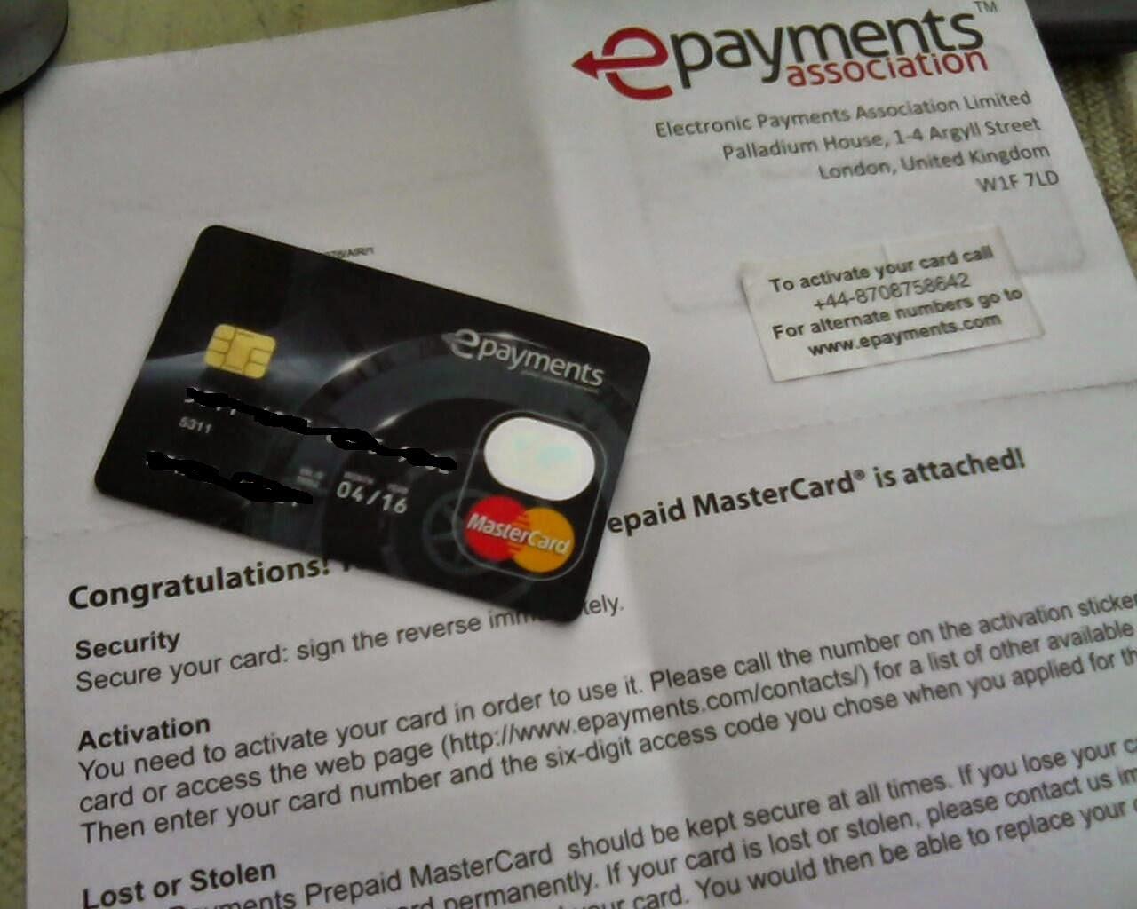 شرح التسجيل فى بنك epayments والحصول على بطاقة مصرفية
