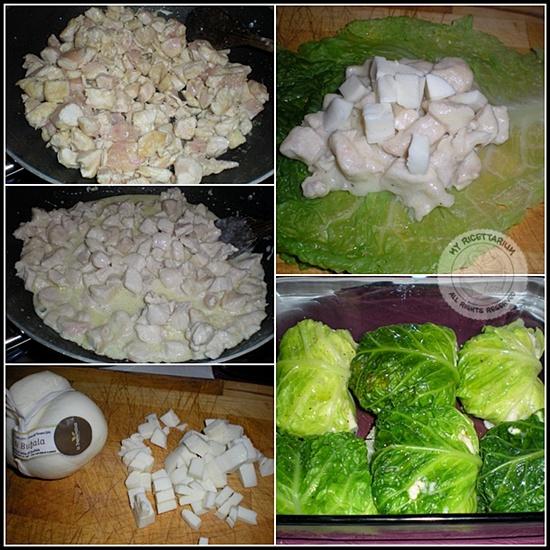 Involtini di verza con bocconcini di pollo e scamorza