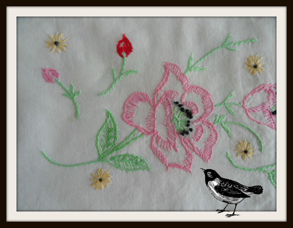 Threads in the nest uses for vintage embroidered pillowcases