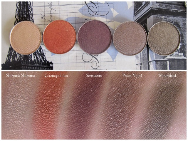 swatches of makeup geek eyeshadows shimma shimma cosmopolitan prom night moon dust sensuous