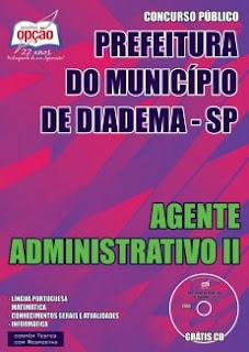 Apostila Concurso Prefeitura de Diadema 2015 para Agente Administrativo II