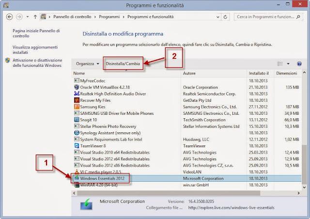 Programmi e funzionalità - Pannello di controllo