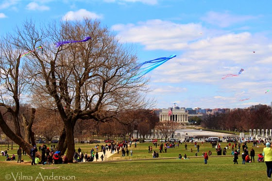 View of the Lincoln Memorial from the Washington Monument during the Kite festival