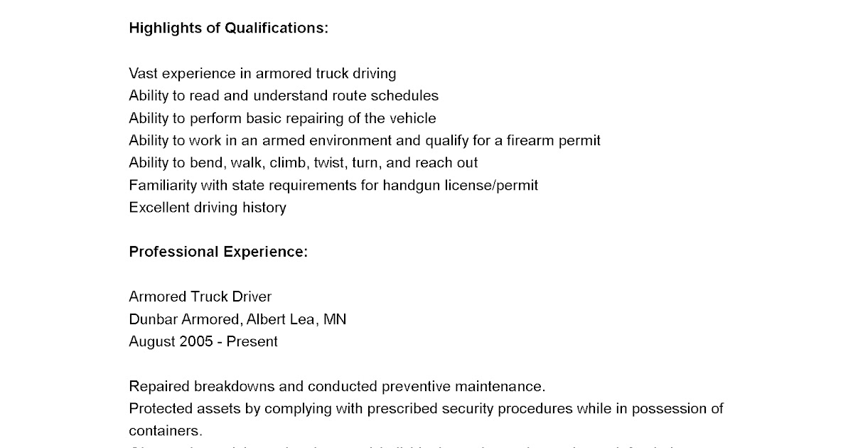 driver resumes  armored truck driver resume sample