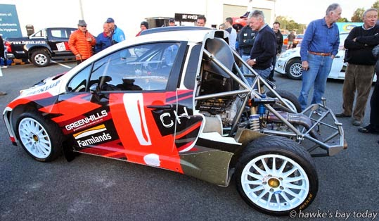 Alex Kelsey's MC2 Peugeot Creation, from Coromandel - Hawke's Bay Rally, car display at VJ Distributors in Omahu Rd, Hastings, on Saturday, before Sunday racing. photograph