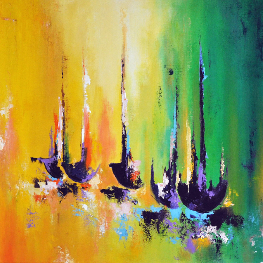 Daily painters abstract gallery abstract boats original for Contemporary oil paintings