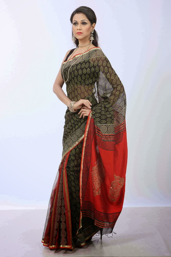 Karchupi Half silk saree is a delicate and soft fiber produced from