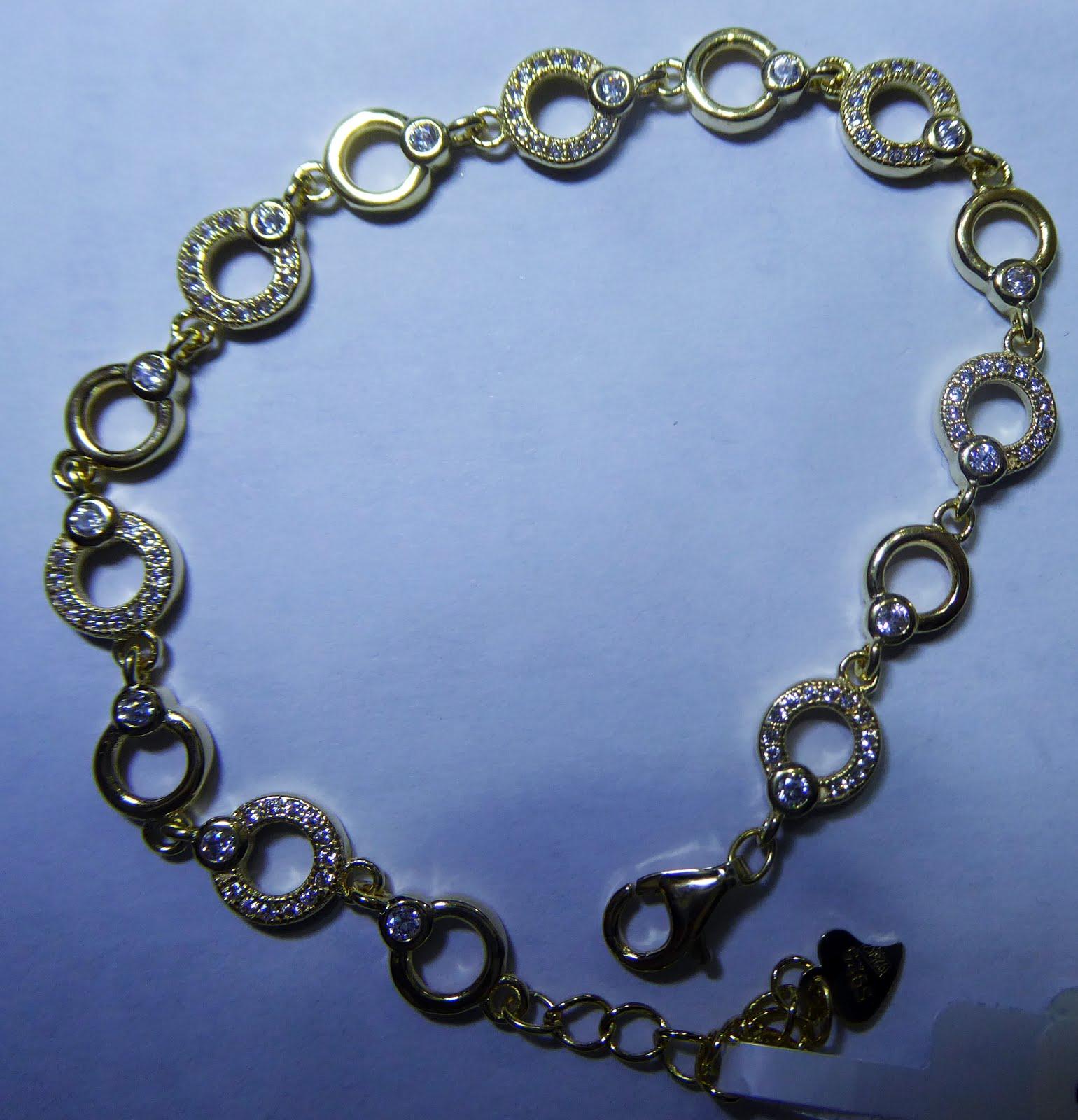 Pulsera de plata dorada, diseño italiano, circonitas