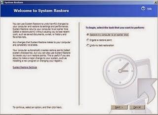 Memperbaiki File System Windows XP yang Corrupt, Hilang / Rusak dengan menggunakan system restore