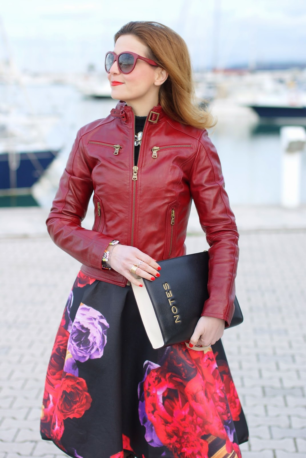 scuba full midi skirt, burgundy leather jacket, Fashion and Cookies, fashion blogger