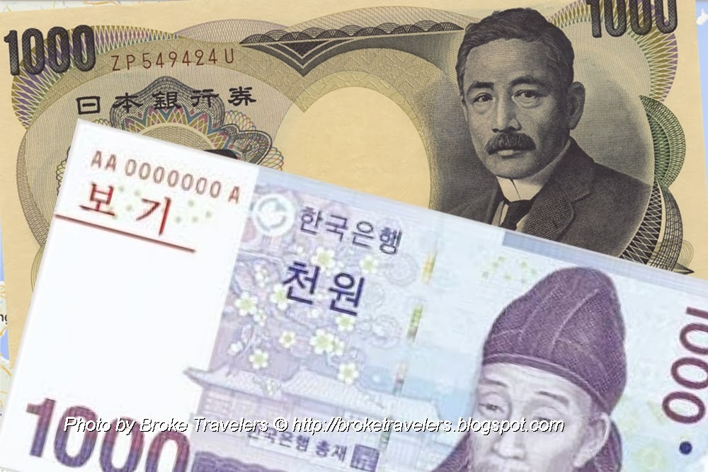 japanese and korean currencies