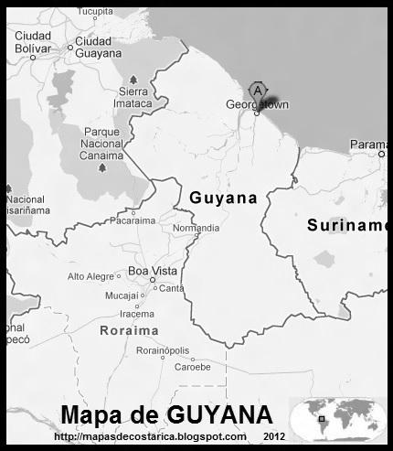 Mapa blanco y negro de GUYANA